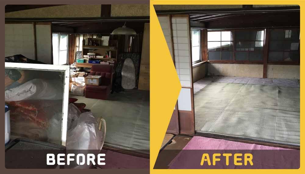家屋の解体をすることになり、不用品の処分など急を要している、とお困りだったお客様からご相談いただきました。